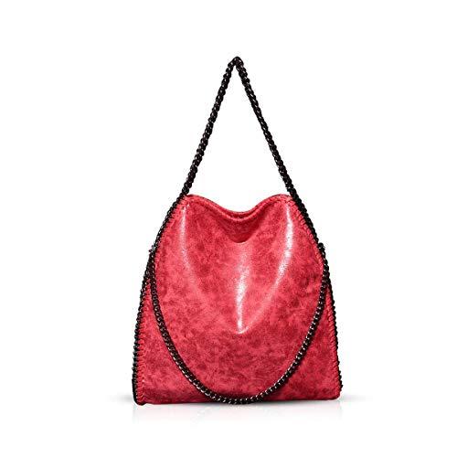 Bolsas de Hombro para Mujer Bolso Bandolera de Cadena para Mujer Bolso de Cadena para Mujer Bolso de Hombro Grande Hobo (Rojo)