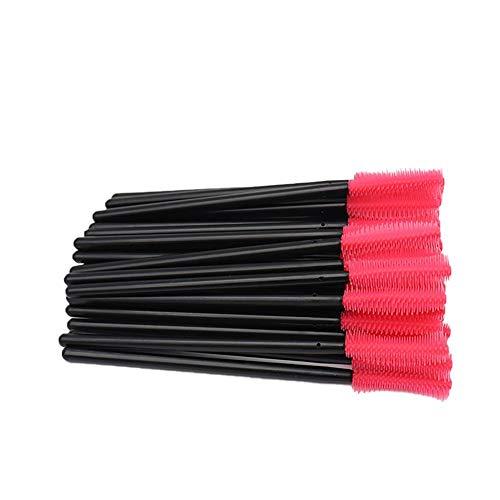 CyFe Lot de 50 baguettes à mascara jetables - Applicateur de cils - Pour extension et levage de cils - Noir et rose
