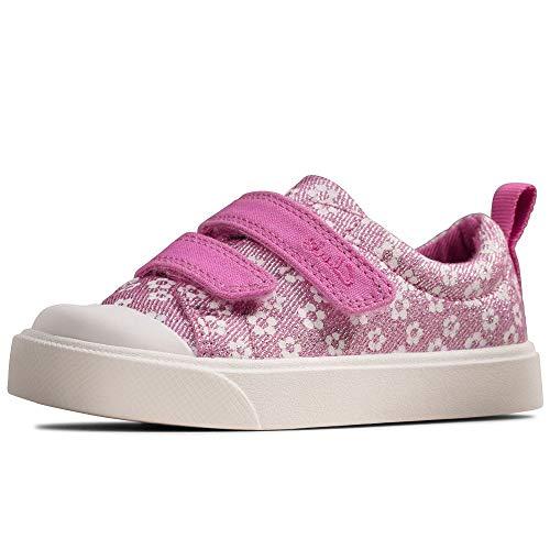 Clarks City Bright T, Scarpe da Ginnastica Basse Bambino, Rosa (Pink Floral Pink Floral), 26 EU