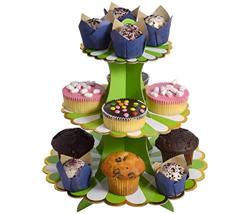 Etagere 3 Etagen Muffin Deko Cupcake Ständer Pappe 3-stöckig Babyparty Tortenständer Pappständer Muffinständer Groß (grün)