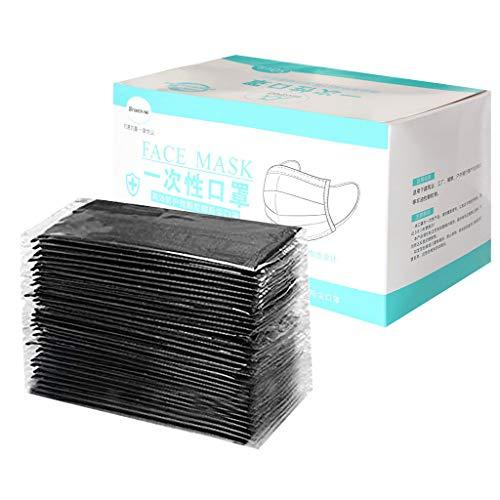 50 Stück Rosa/Lila Einmal-Mundschutz, Adult 3 Schutzschichten Atmungsaktive Mundbedeckung, Baumwolle, Bandana Face-Mouth Cover Sommerschal (Schwarz)