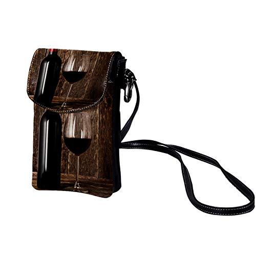 Kleine Crossbody Tasche Handy Weinglas Mini Umhängetasche Leder Tasche Brieftasche mit Credit Card Slots für Frauen 19x12x2cm