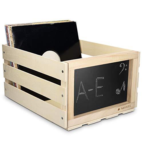 Navaris Holz Schallplatten Kiste mit Kreidetafel - 43 x 34 x 23cm - für bis zu 66 LP Platten - Schallplatten Aufbewahrung Holzkiste in Hellbraun