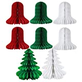 SUNBEAUTY Pack of 8 Christmas Decoration Tissue Paper Honeycomb Christmas Bell and Honeycomb Tree Hanging Decor (Bell and Tree)