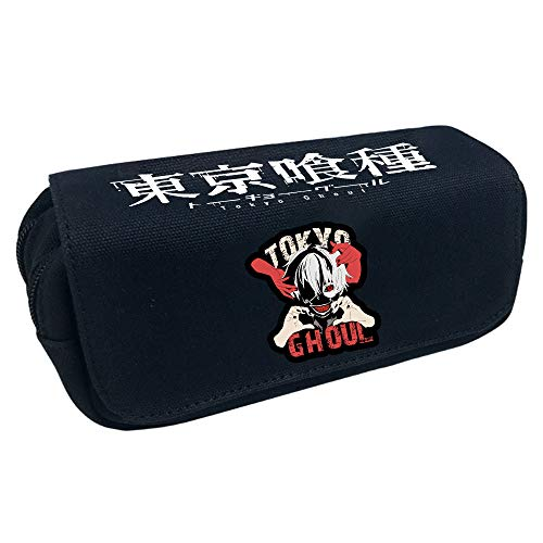 FOHKJMML Tokyo Ghoul Pencil Cases Double Layer Canvas Stationery Bags Student High Capacity Pencil (Color : A08, Size : 20 X 10 X 7.5cm)