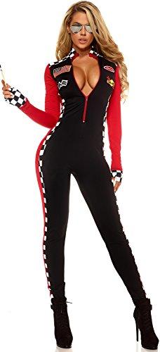 Aimerfeel Damen sexy rote und schwarze Rennwagen und Drag-Rennen karierter Overall Abendkleid-Ausstattungs-Größe (36-40)