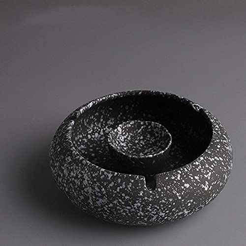 Cenicero de oficina en casa de sala de estar multifunción de cerámica retro europea-Copos de nieve Negro - Cenicero 14.2 * 11 * 5cm