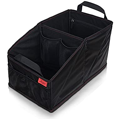 Car Seat Organizer for Front or Backseat with Red Stitching Great for Adults & Kids Featuring 8 Storage Compartments for Toys, Magazines, Tissues, Maps, Books, Documents, Games & more