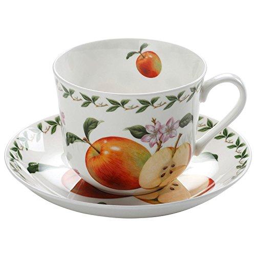 Maxwell & Williams PB8105 Orchard Fruits Frühstückstasse, Kaffeetasse mit Untertasse, Motiv: Apfel, in Geschenkbox, Porzellan