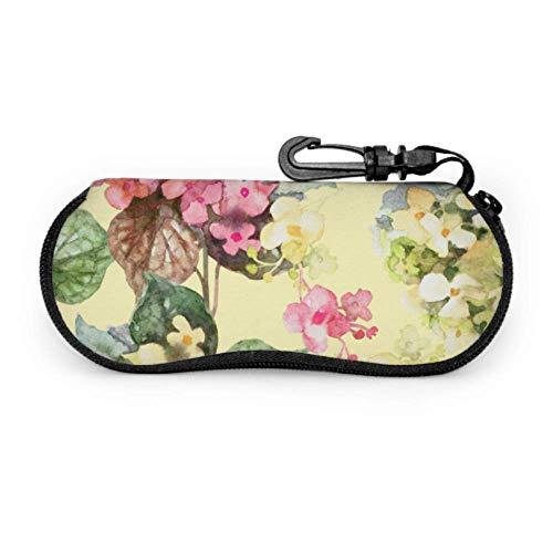 DUKAI Estuche de gafas, hermoso estampado de flores Floración Gafas de sol Estuche suave Estuche de anteojos con cremallera de neopreno ultraligero con mosquetón, gafas de sol