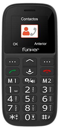 Teléfono Móvil Funker - C65 Negro Easy Plus- para Personas Mayores con botón SOS y Base cargadora. Cámara de Fotos y Agenda con Fotocontactos.