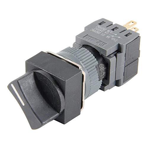 ETial 16mm Diámetro de corte del panel Interruptor selector rotativo momentáneo AC 250V 0.5A SPDT ON/Off Cabezal cuadrado de 2 posiciones
