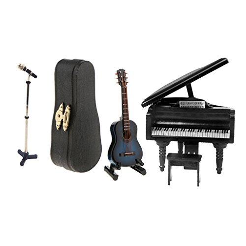 gen¨¦rico 1/12 Instrumentos de Música Guitarra de Madera y Piano con Micrófono en Miniaturas de Casa de Muñeca