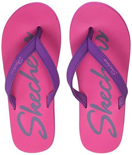 Skechers Women Thong Sandal Hot Pink/Purple Slippers-4 UK (88888349-HPPR)