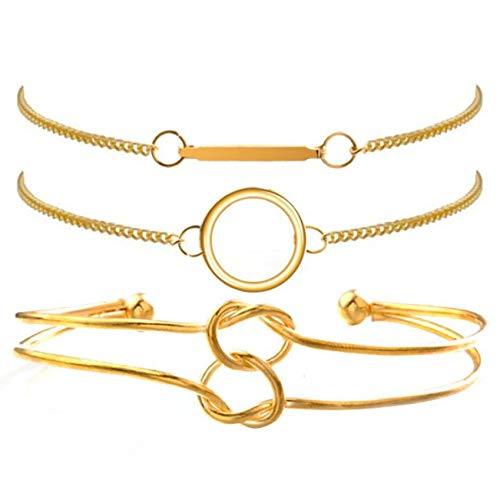 GHJUU 4 STK/Set Einfacher Kreis geknotetes Langstab-Vintage-Armband Boho-Armband Sets Handgemachtes Geflecht Langquasten-Armband Frauen Seil-Ketten-Armbänder Schmuck