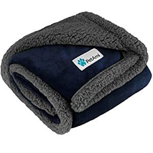 PetAmi Puppy Dog Blanket | Pet Blanket Small Dog Indoor Cat Kitten | Fleece Sherpa Throw Doggy Blanket Crate Couch Bed | Soft Plush Fuzzy Fluffy Lightweight Washable Warm Cover, Mini 30×40 Navy Gray