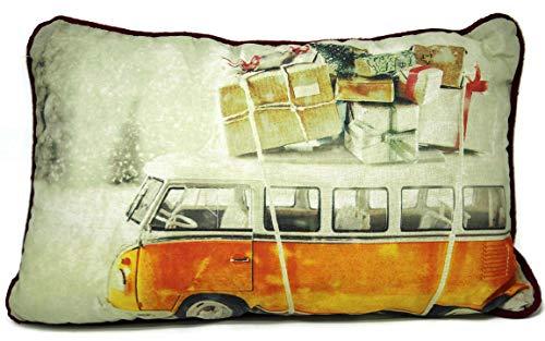 Bada Bing Kissen Im Originellen Design Bulli Bus ORANGE GELB mit Geschenke Weihnachten Dekoration Geschenk Für Alle die Weihnachten nach Hause kommen sollen Zierkissen Sofakissen 08