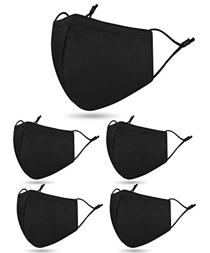 5 pcs Costume Fabric Face C-over,2 Layer Breathable Washable Cloth Face Madks for Indoor Outdoor,Reusable Covering for Home Office Wear,Black
