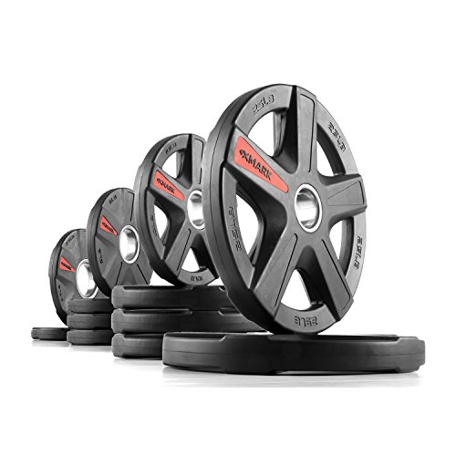 XMark Texas Star 205 lb Set Olympic Plates, Patented Design, One-Year Warranty, Olympic Weight Plates