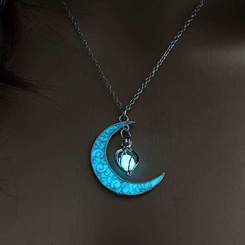 Colar de Lua Brilhante Colar de Cristal | (Azul)