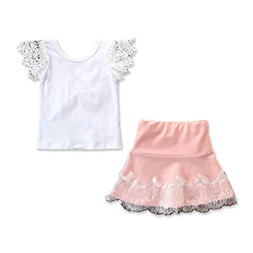 Tianhaik 2-6T Meisjes Roze Zomer Casual Kleding Set Shirt met Bowknot+ Mini A-lijn Rok