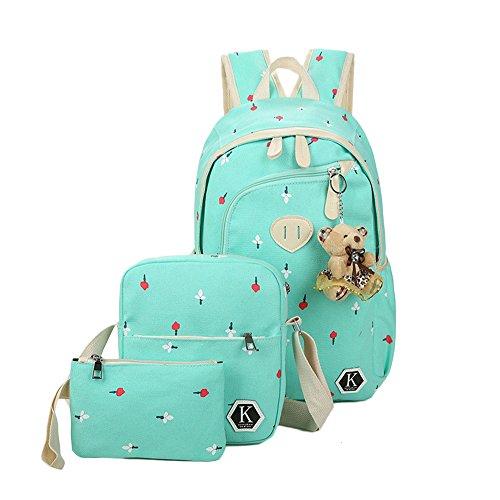 Zaino Casual Scuola Set 3pcs Daypacks/Canvas Backpack Tela Zaini Unisex + Messenger Bag + Purse Verde Chiaro