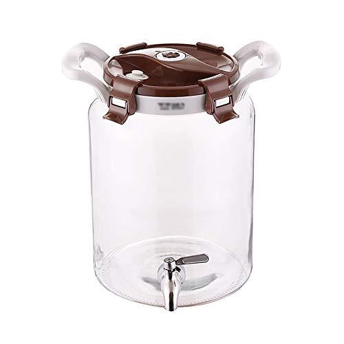 HyxqyJP Glazen drankdispenser met lekvrije tappen, 8 liter, verzegeld blik, metalen standaard en deksel, limonade, thee, koud water