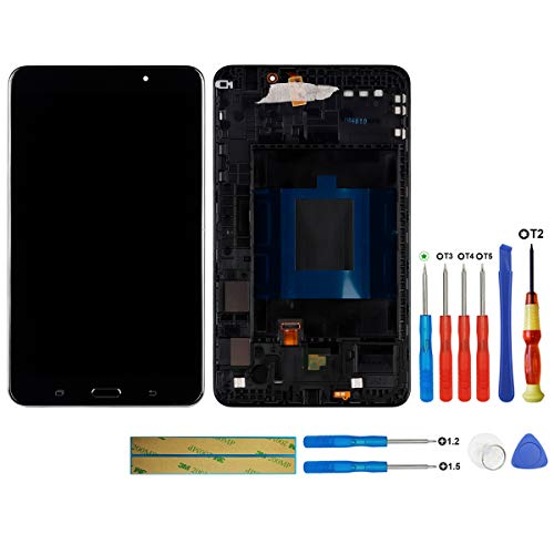 swark - Display LCD compatibile con Samsung Galaxy Tab 4 T230 (nero + telaio), schermo touch screen LCD