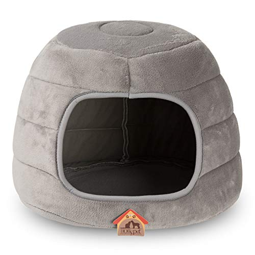 Hollypet Self-Warming 2 in 1 Foldable Cave Shape High Elastic Foam Pet Cat Bed