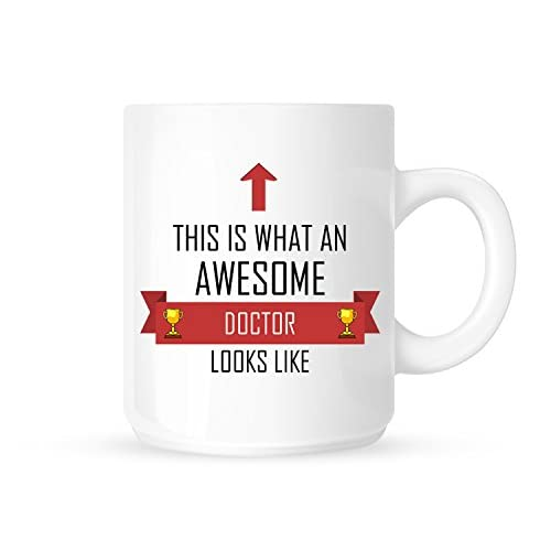 This Is What An Awesome Doctor Looks Like Red Ribbon Design Tea//Coffee Mug//Cup Great Gift Idea