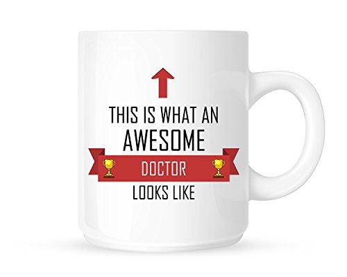 Taza de té y café, diseño de lazo rojo con texto en inglés 'This Is What An Awesome Doctor Looks Like Like - Gran idea de regalo