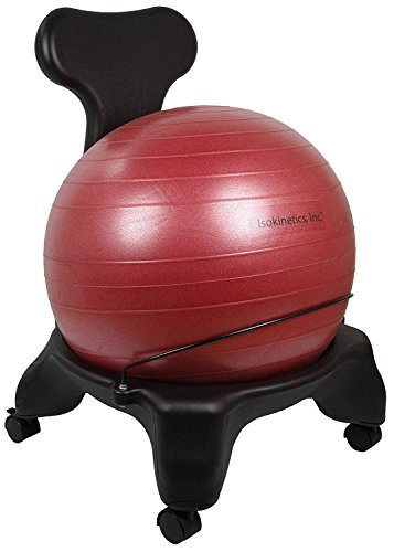 Isokinetics Inc. Balance Exercise Ball Chair - Red 52cm Ball - Standard Height Frame - Office Size...