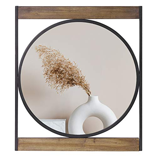 Decorative Mirrors for Wall Decor Round Wall Mirror with Square Metal&Wooden Frame -
