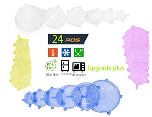 Benrise 24-delig voedsel kwaliteit siliconen vers houdbare deksel verzegelbaar herbruikbare universele deksel rekbare wrapschaal deksel uitbreidbaar om verschillende vormen van containers, Vaatwassers, kommen, veilig in de vaatwasser, magnetron
