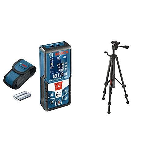 Bosch Professional Medidor láser de distancia GLM 50 C (transmisión de datos Bluetooth, sensor de inclinación de 360°, máxima distancia: 50 m, 2 pilas de 1.5 V, funda, trípode BT 150)