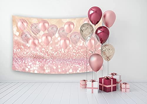 WaW 2.2x1.5m Rosa Kulisse Fotobooth Hintergründe Luftballons Hochzeit, Bokeh Fotowand Hintergrund Geburtstag Mädchen Party Dekoration, Baby Fotoshooting Kulisse Stoff