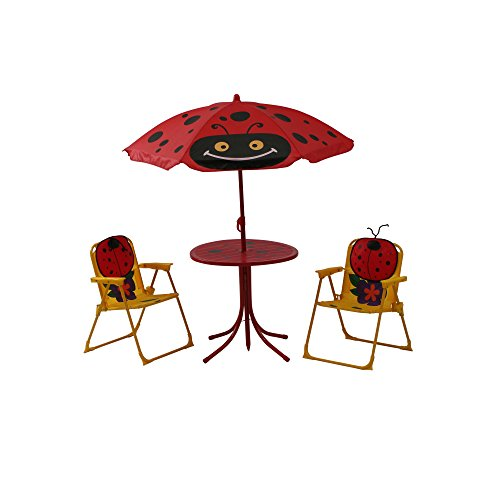 Siena Garden 672618 Marie Set pour Enfants 2 Fauteuils Pliants 1 Table + 1 Parasol Acier Motif de Coccinelle Jaune/Rouge