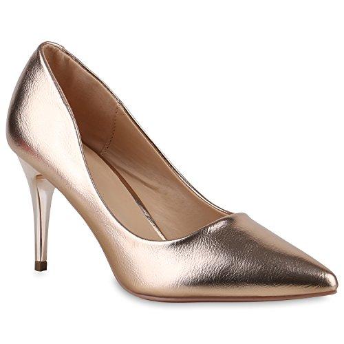 Klassische Lack Pumps Damen High Heels Strass Spitze Stilettos Samt Metallic Leder-Optik Schuhe 128760 Gold Glatt 36 Flandell