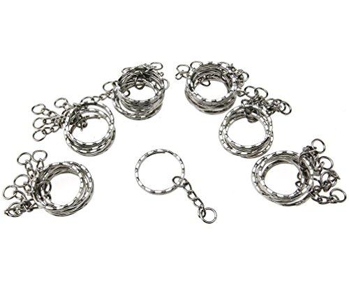 Sleutelringen, leeg, 55 mm, zilverkleurig, ketting met 4 schakels, 50 stuks