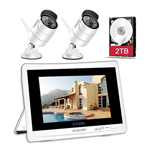 YESKAMO Kit Vidéo Surveillance sans Fil Système de Sécurité Caméra WiFi Intérieur/Extérieur 4CH 12 PoucesIPS Écran Moniteur+ 2 X HD 1080p 2MP IP Caméras avec 2 TB Disque Dur