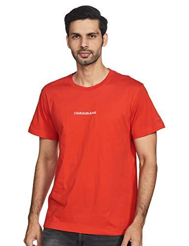 Calvin Klein Instit Chest Logo Reg tee Camiseta, Rojo (Fiery Red Xa7), M para Hombre