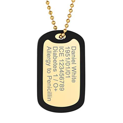 PROSTEEL Collier Dog Tag Personnalisé Plaqué Or Pendentif Plaque Militaire Acier Doré avec Etui de Silicone Noir Bijoux Cadeau Unique pour Homme Femme Accessoire Jour Commémoratif