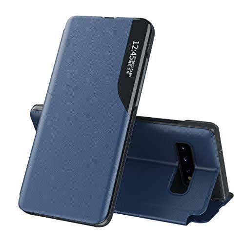 Celular Capa Samsung Galaxy S10 Case Função de Sono Inteligente(Exibidas hora e data) Função de Suporte para flip e Absorção Magnética Case Ultrafina Couro Protetora Cover:Azul