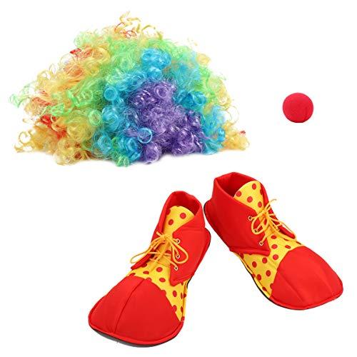 VORCOOL Karneval Clown Kostüm Bunte Clown Perücke Clown Rote Nase Spaß Clown Schuhe Cosplay Requisiten Clown Party Dress Up - 1 Set