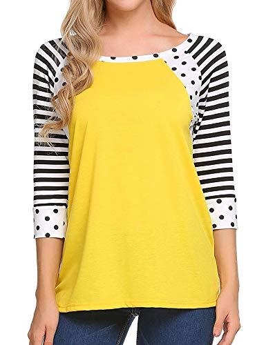 Zeagoo Womens Striped 3/4 Sleeve Crew Neck Tshirt Casual Tunic Top (2_yellow,Small)