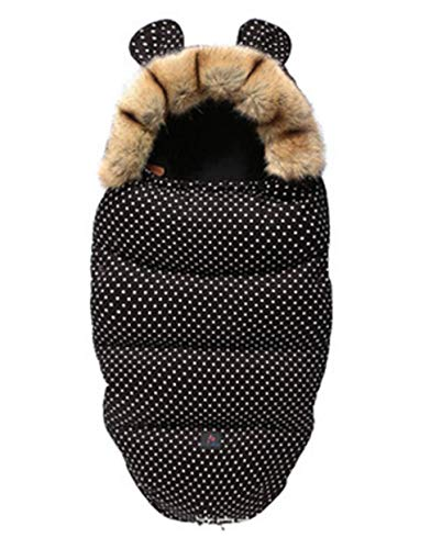 CHRONSTYLE Baby Schlafsack Für Kinderwagen Kutsche Kinderwagen Fußsack Warmer Winter Wickelumschlag Für Neugeborene Baby Kokon (Schwarz, 100 x 46 cm)