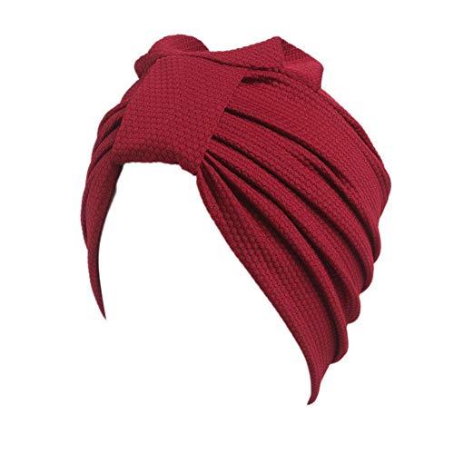 XMSIA Turbante Cap Beanie de Mujer Sólido Toalla Anudada Color maíz Indio Informal Sombrero de poliéster Sombrero del Casquillo de Las Mujeres Headwrap Sombrero Suave (Color : Red)