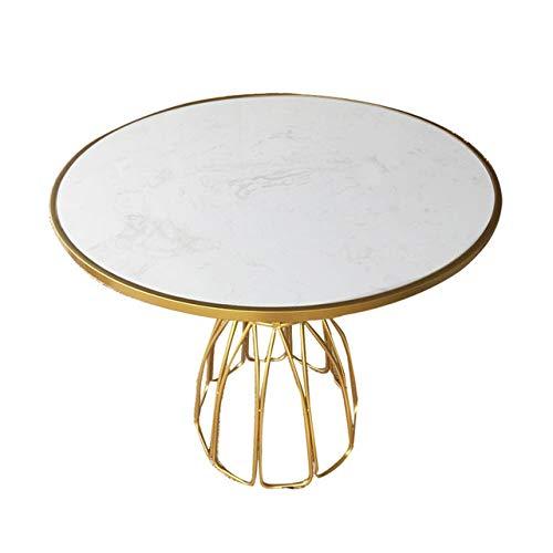 Eettafel LKU Eenvoudige moderne gouden ijzeren marmeren ronde tentoonstellingsruimte tafel klein appartement vrije tijd tafel, 60x60x75cm