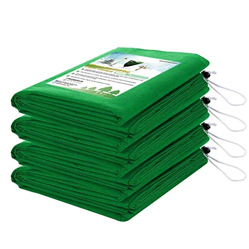 Homimp Frost Protection for Plants,4 Pack of Drawstring Plant Covers (31.5' x 47.3' Inch) Warm Plant Protection Cover Bags for Winter Frost Cold Weather Shrubs & Trees Jacket Covers