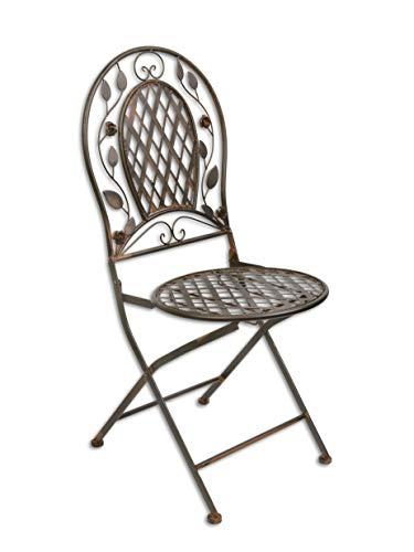 Decoratie Gartenstuhl Klappstuhl Bistro Stuhl Metall braun klappbar 94,8 cm Shabby Chic
